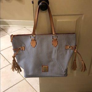 Dooney & Bourke White & Blue Tassel Bag
